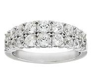 Diamonique 100-Facet Double Row Band Ring, Platinum Clad - J290303