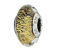 Prerogatives Gold with Black Specks Italian Murano Glass Bead - J300203