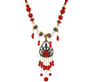 American West Sterling/Brass Coral Necklace & Enhancer - J330503