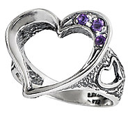 Or Paz Sterling Silver Open Heart Amethyst Ring - J338603