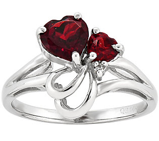 Double Heart Garnet and Diamond Accent Ring,
