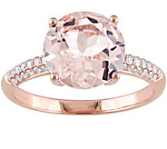 3.55 ct Morganite and 1/7 cttw Diamond Ring, 14K Rose Gold - J342503