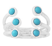 Sterling Turquoise Triple Row Cuff Ring - J342903