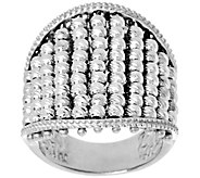 As Is Italian Silver Sterling Diamond Cut Multi-bead Ring - J346203