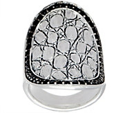 JAI Sterling Silver & Black Spinel Croco Saddle Ring - J351703