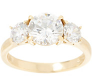 Diamonique 3.00 cttw Three Stone Ring, Gold Clad - J355903