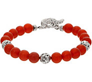 JAI Sterling Silver Carved Floral Gemstone Bead Bracelet - J362203