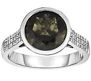 Sterling 2.50 cttw Moldavite & White Zircon Ring - J376003
