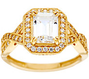 Diamonique Emerald-Cut Twisted Shank, 14K Gold - J384603