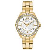 Bulova Womens Goldtone Stainless Crystal Bracelet Watch - J384803