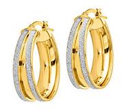 Italian Gold 1 Glitter-Infused Oval Hoop Earrings, 14K Gold - J385703
