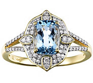 14K Gold Cushion-Shaped Aquamarine & 1/5 cttw Diamond Ring - J385803