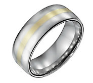 Steel By Design Mens 8mm Polished Ring w/14K Gold Inlay - J109504
