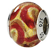 Prerogatives Sterling Gold and Red Italian Murano Glass Bead - J111604