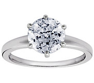 Diamonique 2.00 cttw 100-Facet Solitaire Ring,Platinum Clad - J112404