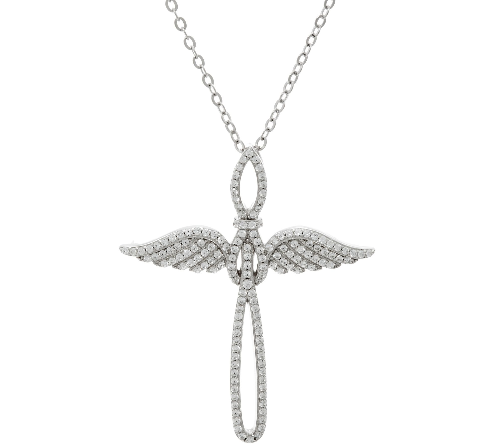 """Diamonique Angel Wing Cross Necklace w 18"""" Chain Sterling Page"""