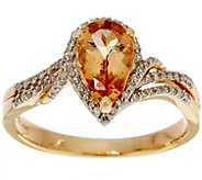Pear Shaped Imperial Topaz & Diamond Ring 14K Gold 1.35 ct - J350104