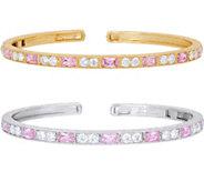 Judith Ripka Sterling Silver or 14K Clad Diamonique Cuff Bracelet - J350804