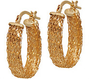 14K Gold Mesh Design Oval Hoop Earrings - J351204