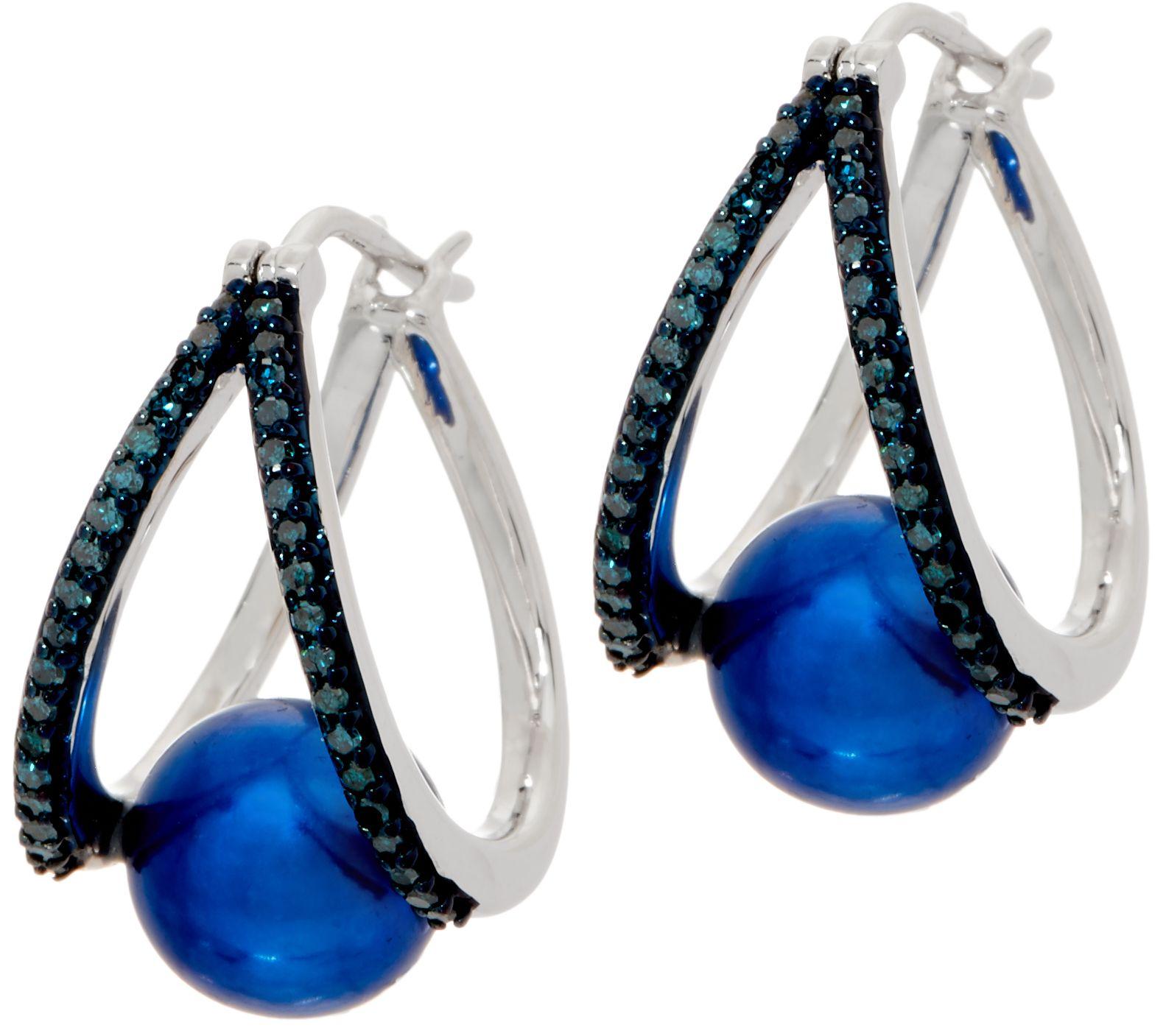 ca0d650b86bf4 Honora Cultured Pearl & Diamond Split Hoop Earrings, Sterling — QVC.com