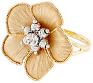 Arte d Oro Two-tone Flower Ring 18K Gold - J353504
