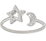 Diamonique Adjustable Motif Ring, Sterling - J355704
