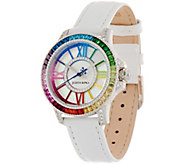 Judith Ripka Stainless Steel Rainbow Diamonique Watch - J356904
