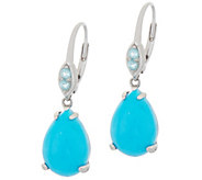 Sleeping Beauty Turquoise w/ Apatite Drop Earrings, Sterling Silver - J357204