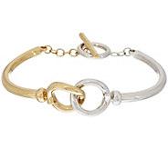 As Is 14K Gold Small Interlocking Status Link Toggle Bracelet - J358004