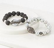 Susan Graver Set of 2 Cultured Pearl & Crystal Bracelets - J358904