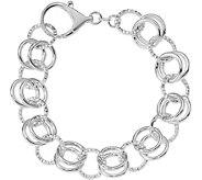Italian Silver Double Circle Link Bracelet Sterling, 16.4g - J379904