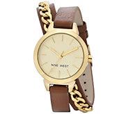 Nine West Ladies Darbiesue Brown Double Wrap Strap Watch - J381004