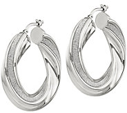 Italian Silver 1-3/8 Glitter Twisted Hoop Earrings - J383004