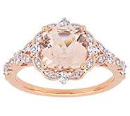 14K 2.40 cttw Morganite & White Sapphire Halo Ring - J392304