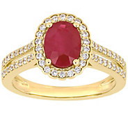 14K Gold 1.40 cttw Ruby and 3/10 cttw Diamond Cocktail Ring - J392504
