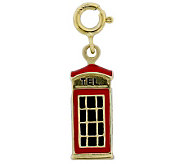 London Phone Booth Enamel Charm, 14K Gold - J300105