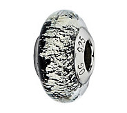 Prerogatives Sterling Black/White Italian Murano Glass Bead - J300205