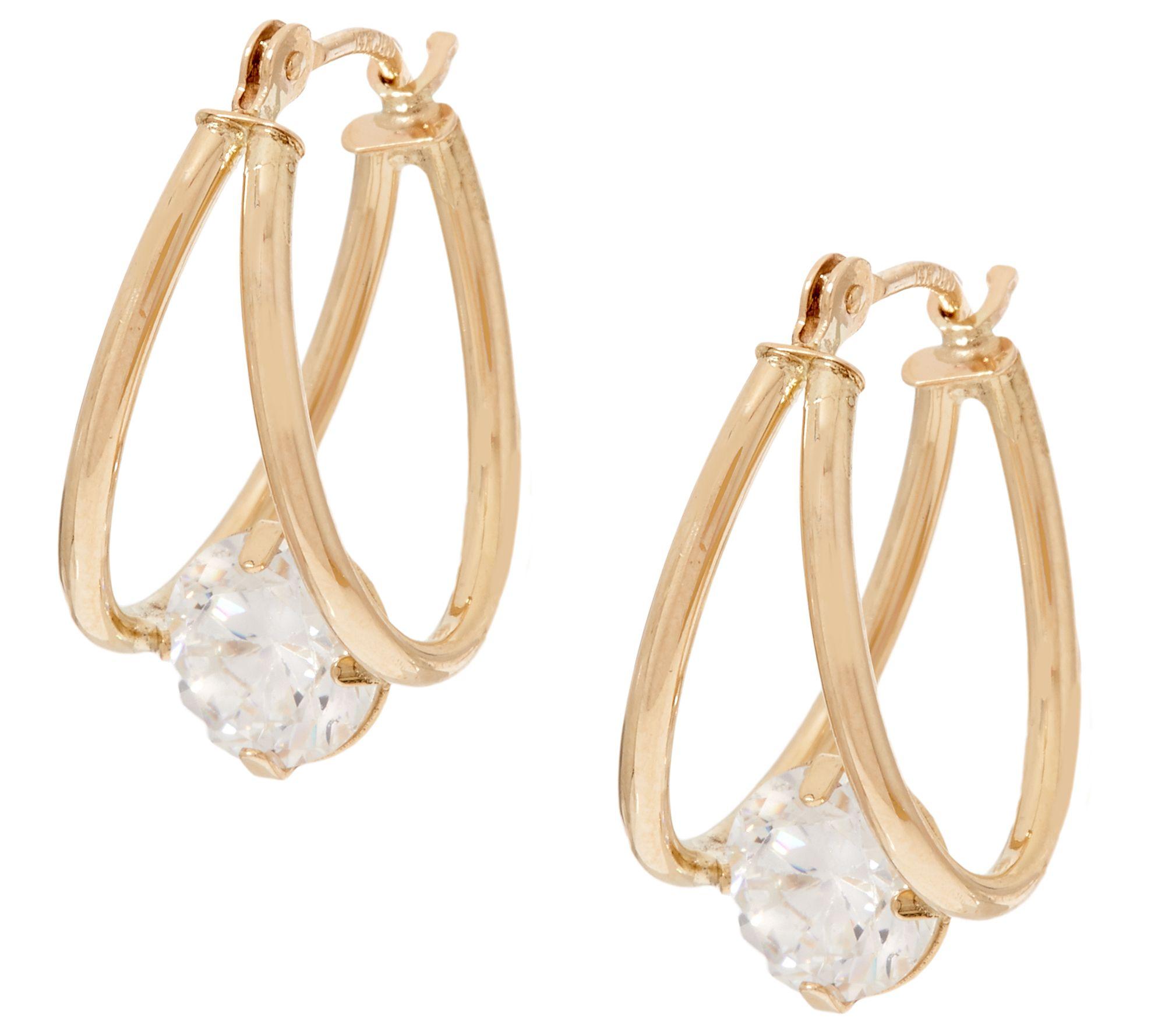 As Is Diamonique 2 00 Cttw Split Hoop Earrings 14k Gold Page 1 Qvc