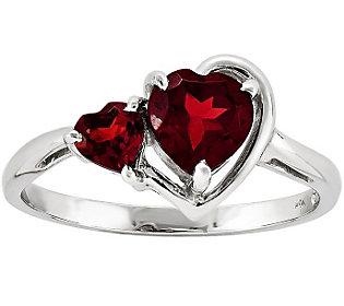 Double Heart Garnet Ring, 14K White Gold