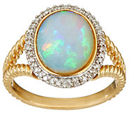 As Is Ethiopian Opal & Diamond Rope Design Ring, 14K Gold - J349805