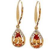 Pear Shaped Imperial Topaz & Diamond Drop Earrings 14K, 1.95 cttw - J350105