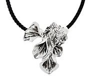 Or Paz Sterling Silver Calla Lily Pendant with Braided Cord - J350405