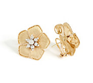 Arte d Oro Two-tone Flower Earrings 18K Gold - J353505
