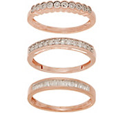 Set of 3 Diamond Rings, 1/2 cttw, Sterling, by Affinity - J354805