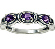Carolyn Pollack Simply Fabulous Sterling Silver Three Gemstone Band Ring - J356805