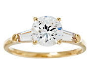 Diamonique 100-Facet 2.00 cttw Solitaire Ring,14K Gold - J384605