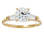 Diamonique 100-Facet 2.00 cttw Solitaire Ring,14K Gold - J384605