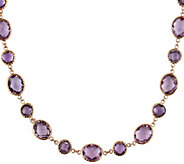 14K Gold 55.50 cttw Rose de France & Amethyst Station Necklace - J385305