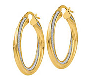 Italian Gold Glitter-Infused Twisted Hoop Earrings, 14K Gold - J385705