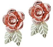 Black Hills Gold Rose Shaped Earrings 10K/14K - J388805